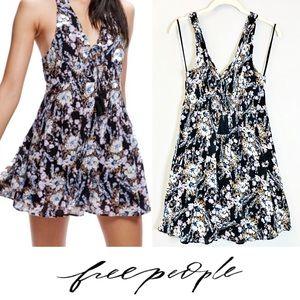 Free People Black Floral Mini Halter Dress